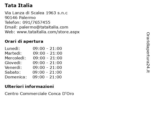Tata Italia a Palermo: indirizzo e orari di apertura