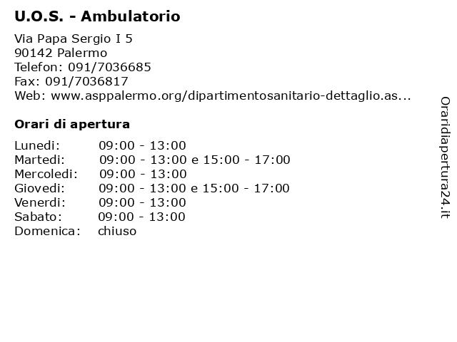 U.O.S. - Ambulatorio a Palermo: indirizzo e orari di apertura