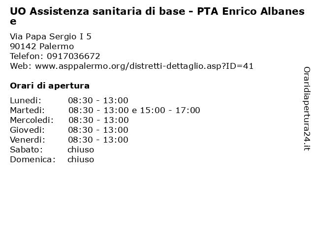 UO Assistenza sanitaria di base - PTA Enrico Albanese a Palermo: indirizzo e orari di apertura