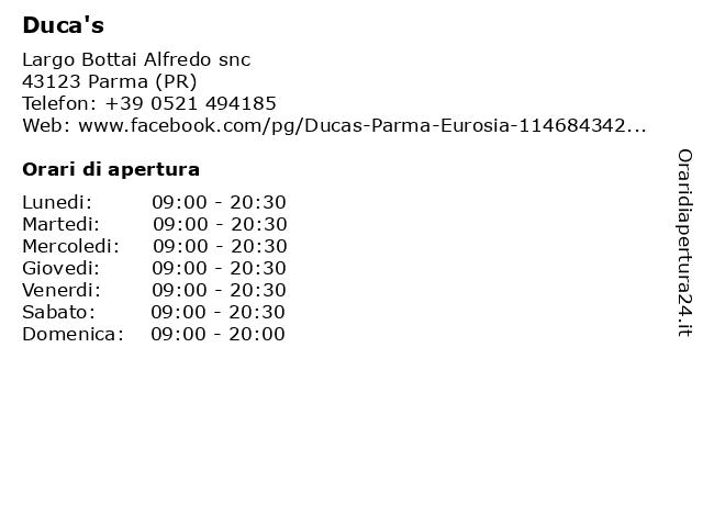 Duca's a Parma (PR): indirizzo e orari di apertura