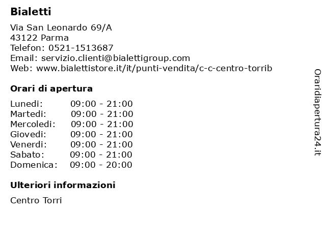 Bialetti a Parma: indirizzo e orari di apertura