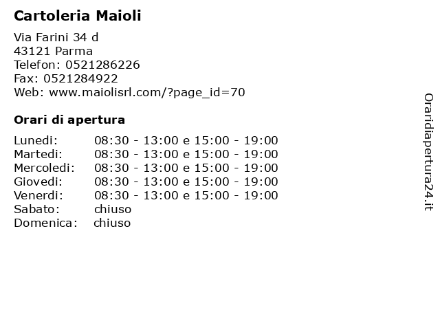 Cartoleria Maioli a Parma: indirizzo e orari di apertura
