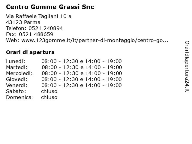 Centro Gomme Grassi Snc a Parma: indirizzo e orari di apertura