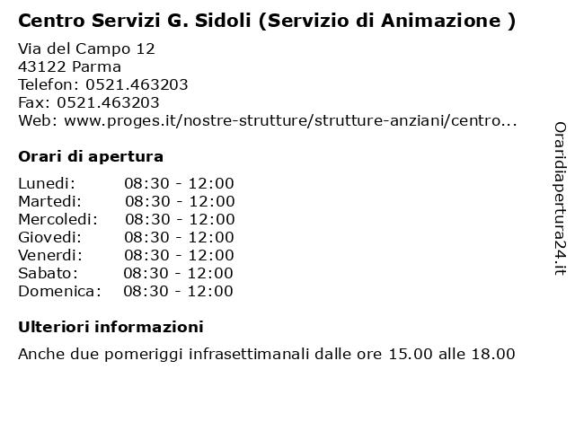 Centro Servizi G. Sidoli (Servizio di Animazione ) a Parma: indirizzo e orari di apertura