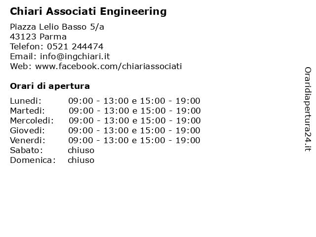 Chiari Associati Engineering a Parma: indirizzo e orari di apertura