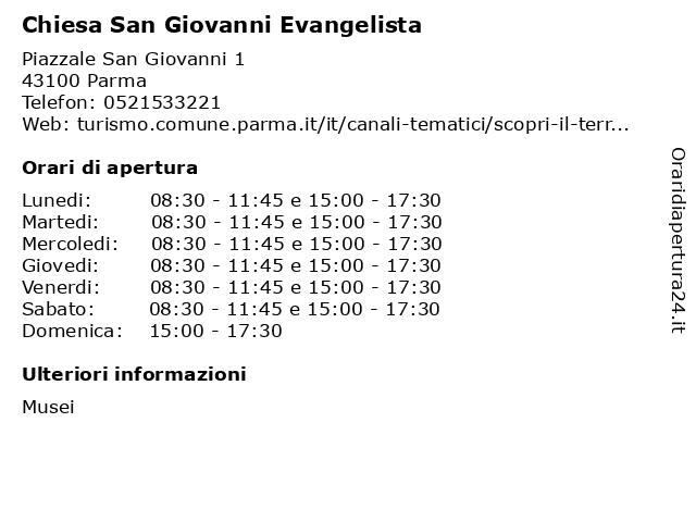 Chiesa San Giovanni Evangelista a Parma: indirizzo e orari di apertura
