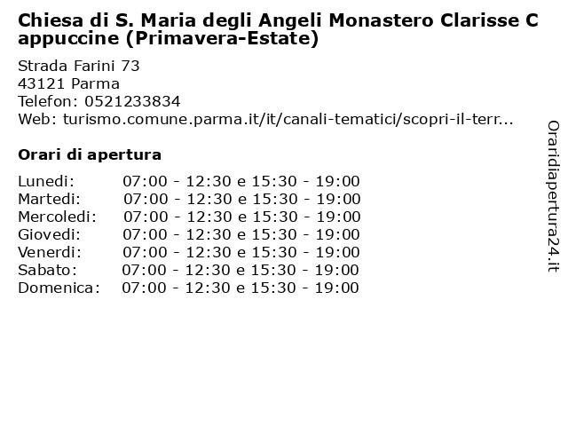 Chiesa di S. Maria degli Angeli Monastero Clarisse Cappuccine (Primavera-Estate) a Parma: indirizzo e orari di apertura
