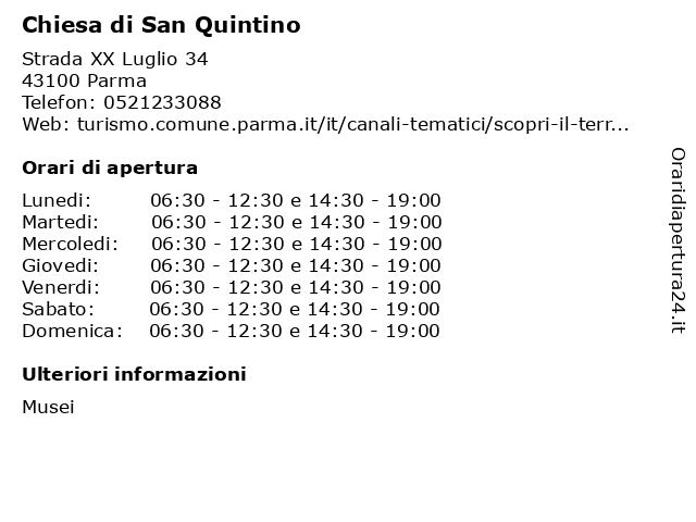 Chiesa di San Quintino a Parma: indirizzo e orari di apertura