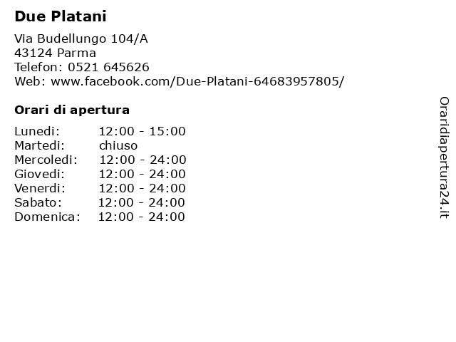 Due Platani a Parma: indirizzo e orari di apertura