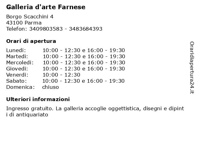 Galleria d'arte Farnese a Parma: indirizzo e orari di apertura