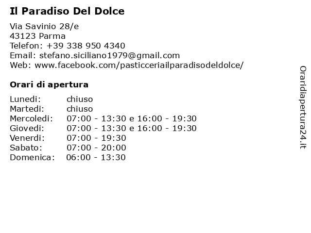 Il Paradiso Del Dolce a Parma: indirizzo e orari di apertura