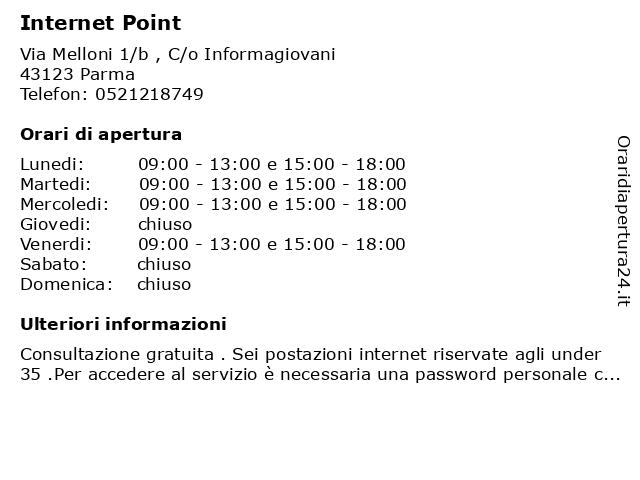 Internet Point a Parma: indirizzo e orari di apertura