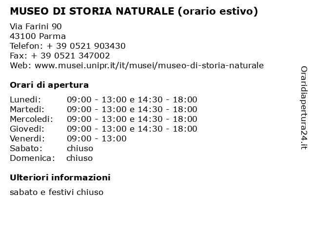 MUSEO DI STORIA NATURALE (orario estivo) a Parma: indirizzo e orari di apertura