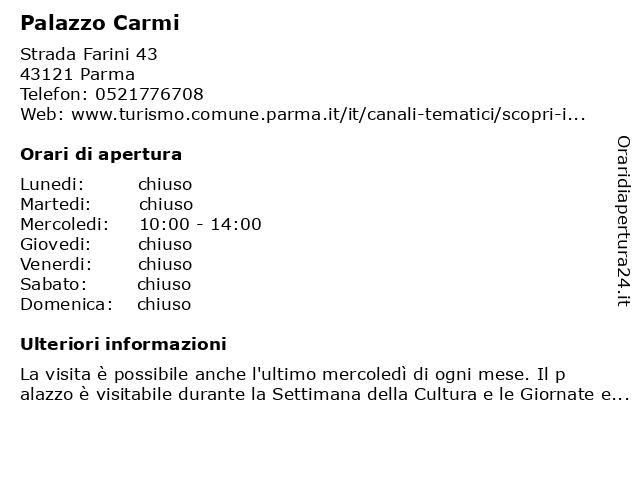 Palazzo Carmi a Parma: indirizzo e orari di apertura