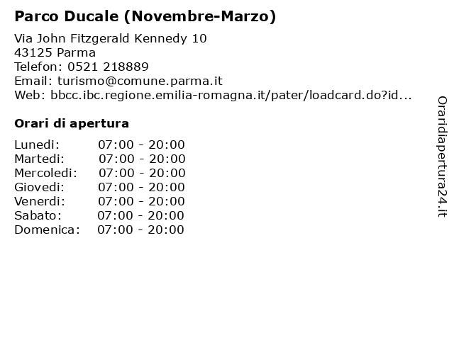 Parco Ducale (Novembre-Marzo) a Parma: indirizzo e orari di apertura