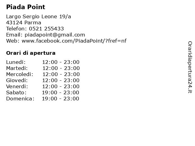 Piada Point a Parma: indirizzo e orari di apertura