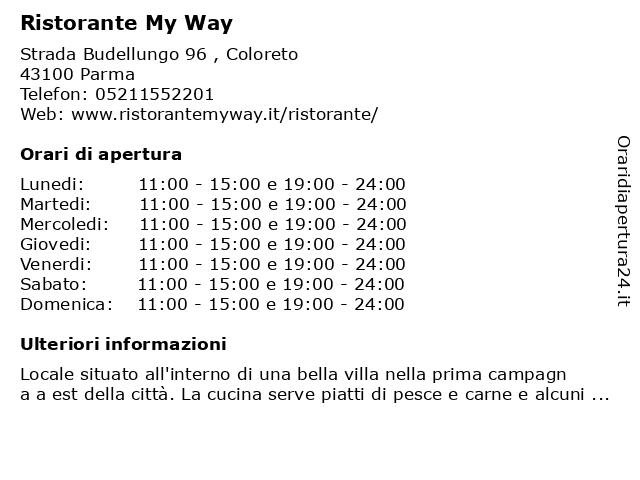 Ristorante My Way a Parma: indirizzo e orari di apertura