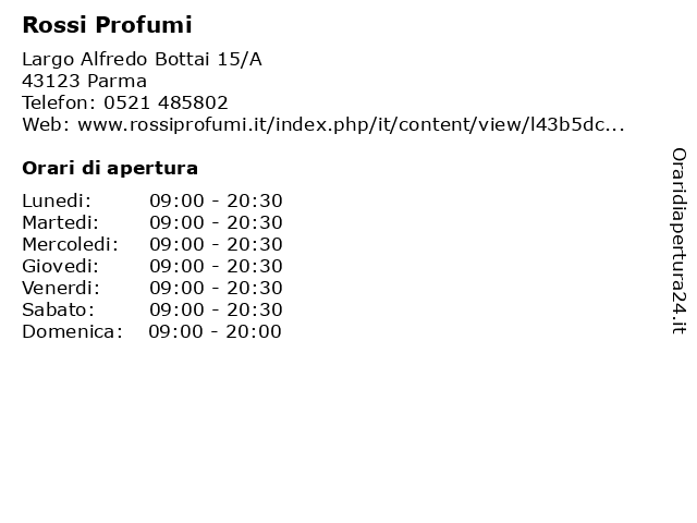 Rossi Profumi a Parma: indirizzo e orari di apertura