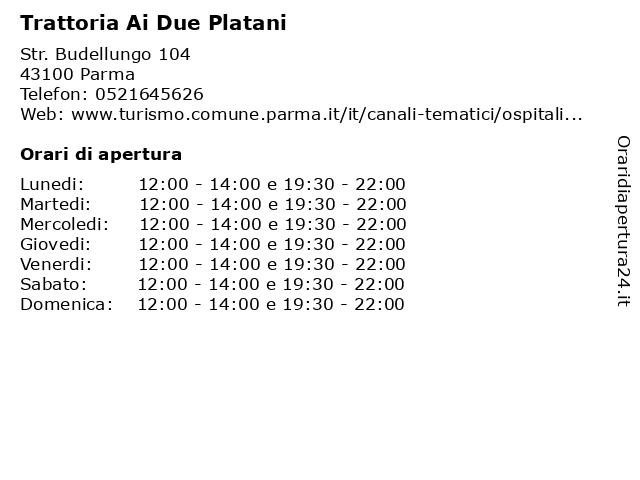 Trattoria Ai Due Platani a Parma: indirizzo e orari di apertura