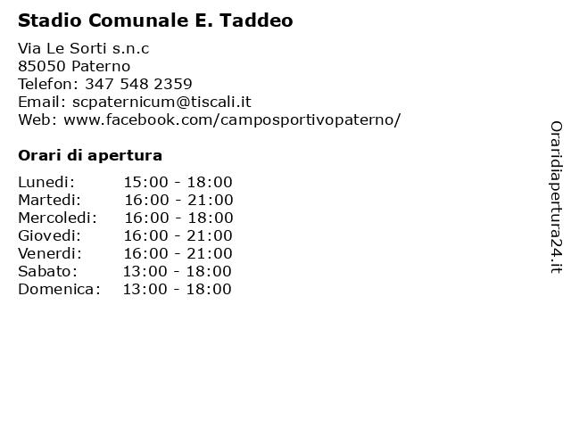 Stadio Comunale E. Taddeo a Paterno: indirizzo e orari di apertura
