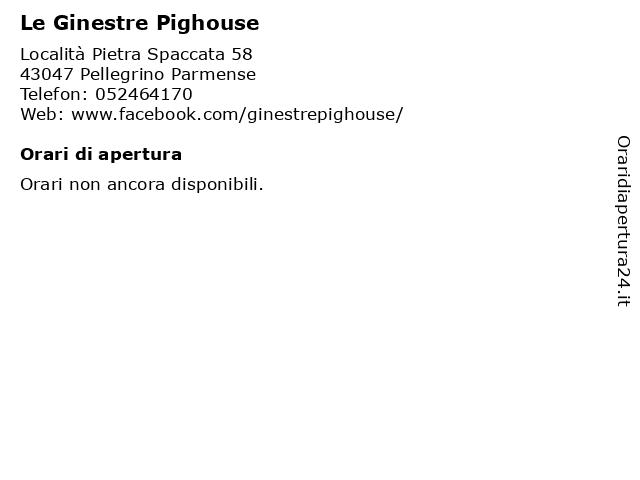 Le Ginestre Pig House Bar Ristorante Pizzeria a Pellegrino Parmense: indirizzo e orari di apertura