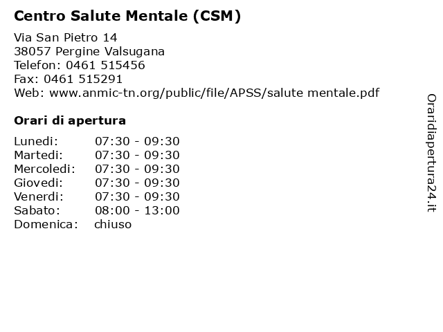 ᐅ Orari Centro Salute Mentale (CSM) | Via San Pietro 14 ...