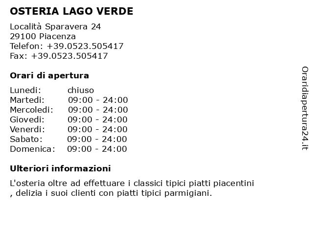 OSTERIA LAGO VERDE a Piacenza: indirizzo e orari di apertura