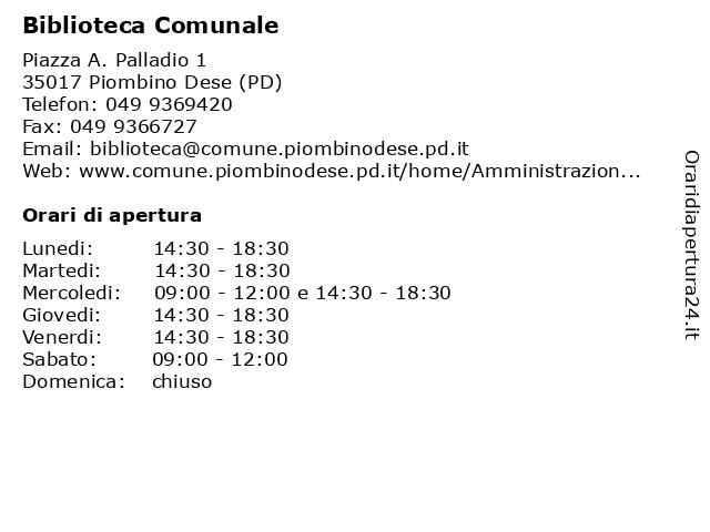 Biblioteca Comunale a Piombino Dese (PD): indirizzo e orari di apertura