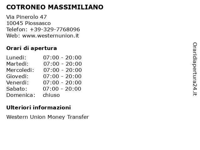 COTRONEO MASSIMILIANO a Piossasco: indirizzo e orari di apertura