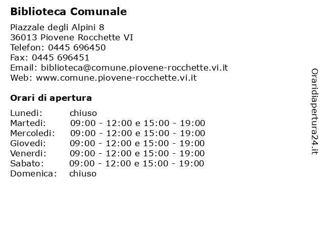 Biblioteca Comunale a Piovene Rocchette VI: indirizzo e orari di apertura