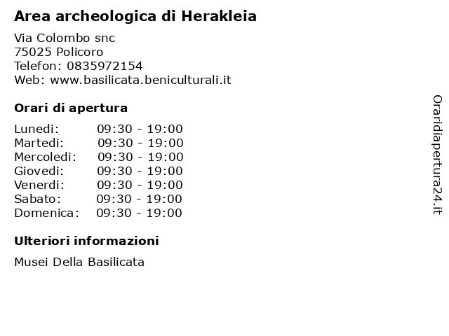 Area archeologica di Herakleia a Policoro: indirizzo e orari di apertura