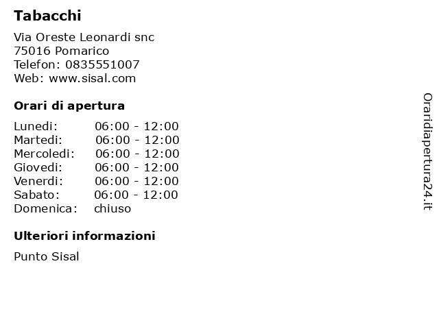 Tabacchi a Pomarico: indirizzo e orari di apertura