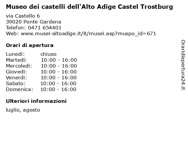 Museo dei castelli dell'Alto Adige Castel Trostburg a Ponte Gardena: indirizzo e orari di apertura