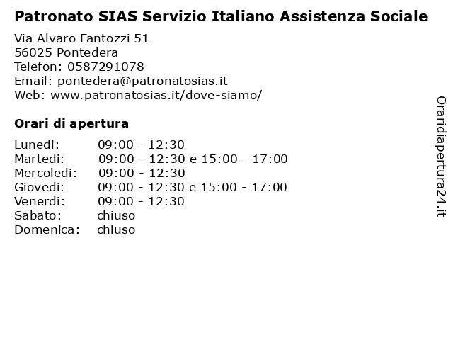 Patronato SIAS Servizio Italiano Assistenza Sociale a Pontedera: indirizzo e orari di apertura