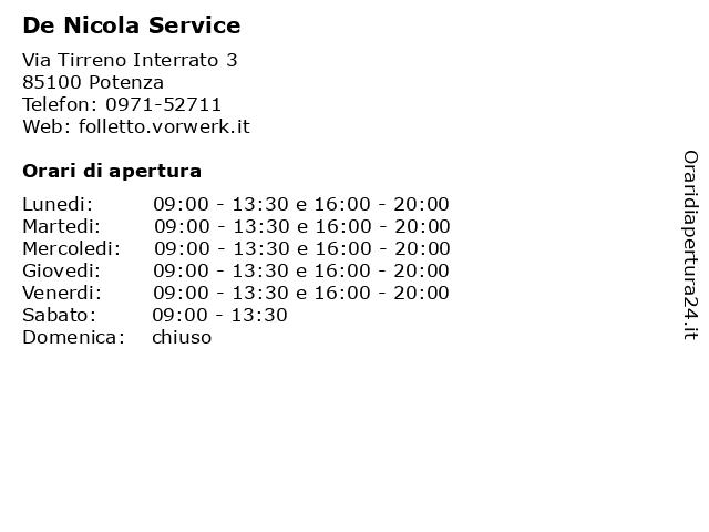 De Nicola Service a Potenza: indirizzo e orari di apertura