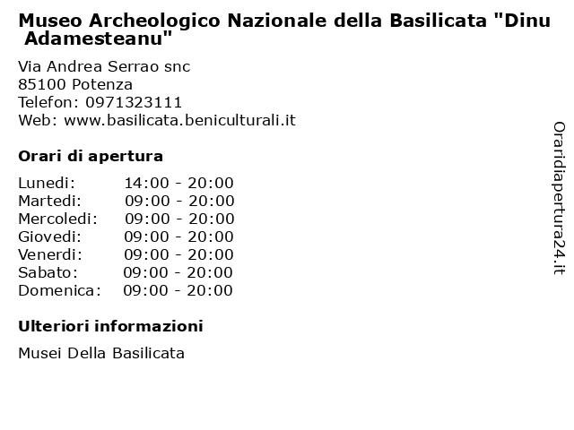 """Museo Archeologico Nazionale della Basilicata """"Dinu Adamesteanu"""" a Potenza: indirizzo e orari di apertura"""