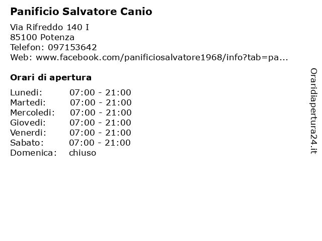 Panificio Salvatore Canio a Potenza: indirizzo e orari di apertura