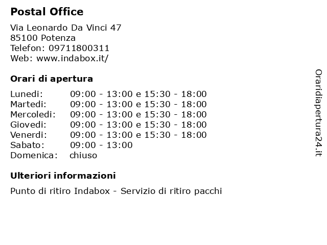 Postal Office a Potenza: indirizzo e orari di apertura