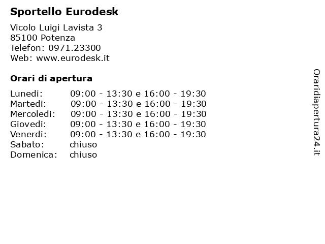 Sportello Eurodesk a Potenza: indirizzo e orari di apertura