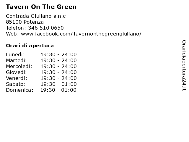 Tavern On The Green a Potenza: indirizzo e orari di apertura