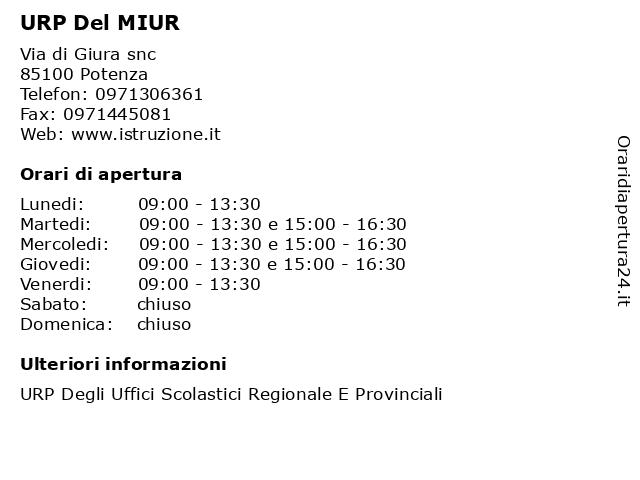 URP Del MIUR a Potenza: indirizzo e orari di apertura
