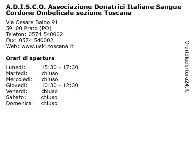 A.D.I.S.C.O. Associazione Donatrici Italiane Sangue Cordone Ombelicale sezione Toscana a Prato (PO): indirizzo e orari di apertura