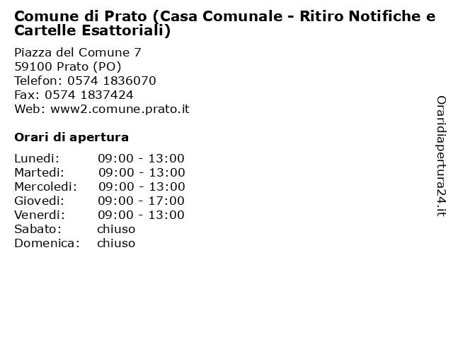 Comune di Prato (Casa Comunale - Ritiro Notifiche e Cartelle Esattoriali) a Prato (PO): indirizzo e orari di apertura
