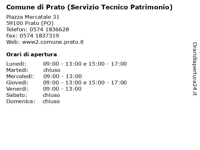 Comune di Prato (Servizio Tecnico Patrimonio) a Prato (PO): indirizzo e orari di apertura