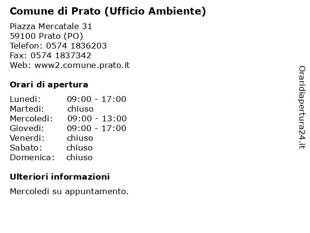 Comune di Prato (Ufficio Ambiente) a Prato (PO): indirizzo e orari di apertura