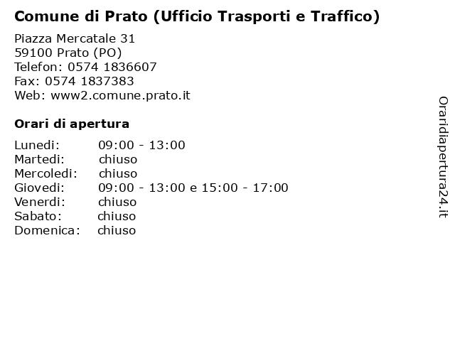 Comune di Prato (Ufficio Trasporti e Traffico) a Prato (PO): indirizzo e orari di apertura