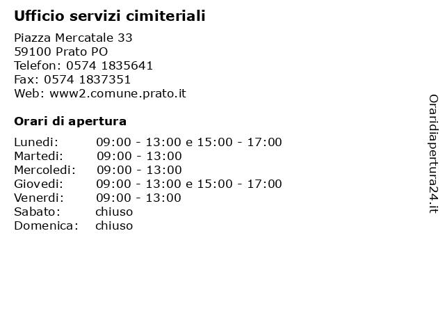 Ufficio servizi cimiteriali a Prato PO: indirizzo e orari di apertura