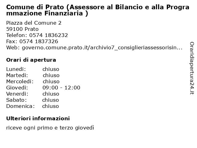 Comune di Prato (Assessore al Bilancio e alla Programmazione Finanziaria ) a Prato: indirizzo e orari di apertura