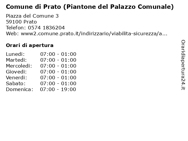 Comune di Prato (Piantone del Palazzo Comunale) a Prato: indirizzo e orari di apertura