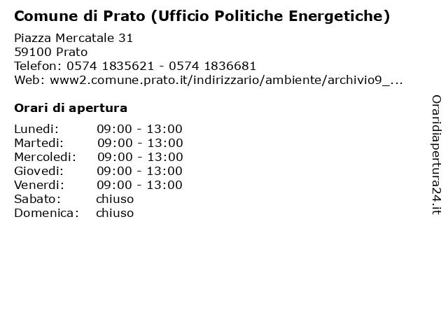 Comune di Prato (Ufficio Politiche Energetiche) a Prato: indirizzo e orari di apertura